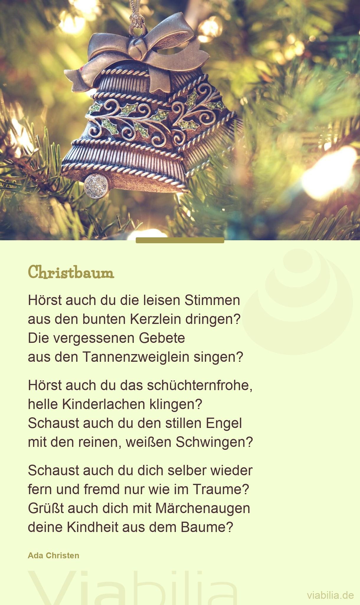 Christbaum Hörst Auch Du Die Leisen Stimmen Aus Den für Christliche Weihnachtsgedichte Für Kinder