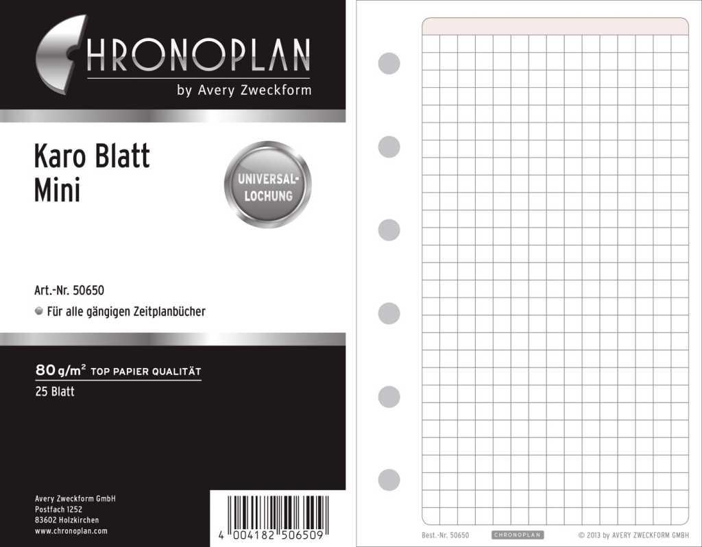Chronoplan 50650 Ersatzeinlage Mini 25 Blatt Weiß bestimmt für Karo Blatt