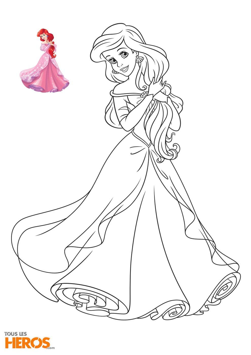 Coloriage Princesse Disney À Imprimer En Ligne   Disney für Malvorlage Arielle