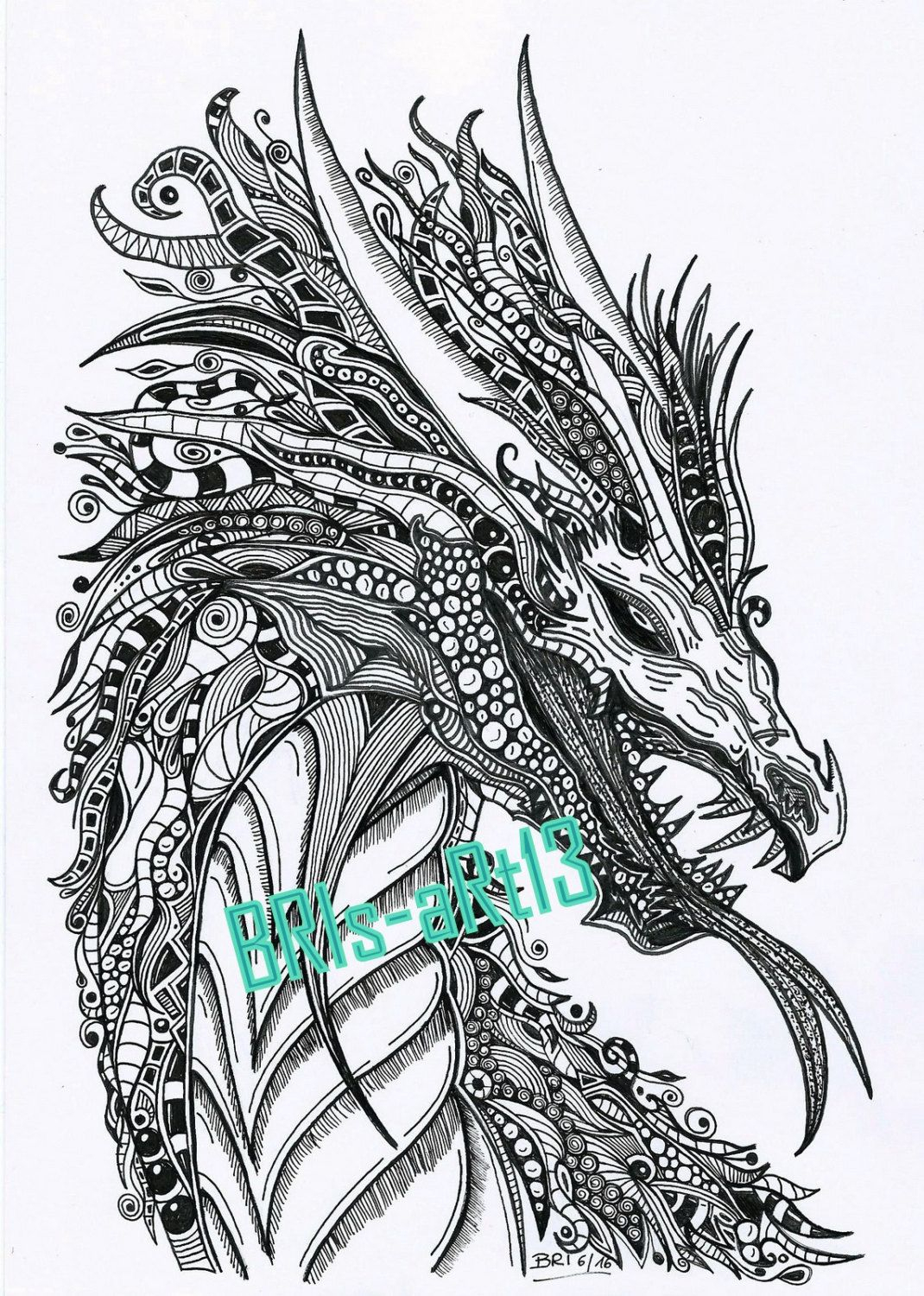 "Coloring Pages - Adult Coloring Zenzia ""drache"" Made By Bri verwandt mit Ausmalbilder Drachen"