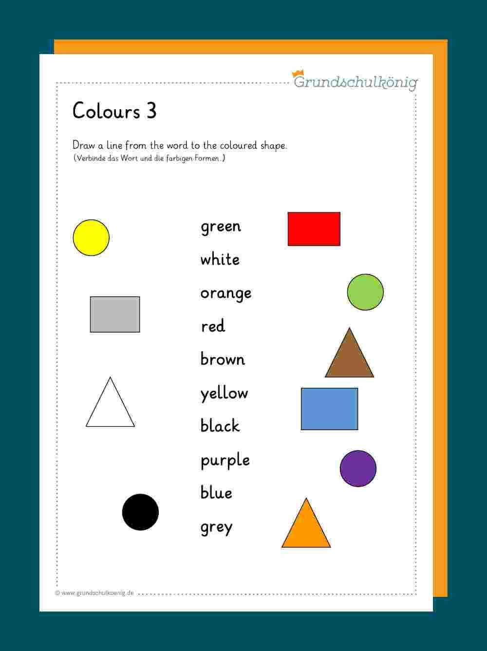 Colours / Farben bestimmt für Arbeitsblatt Farben