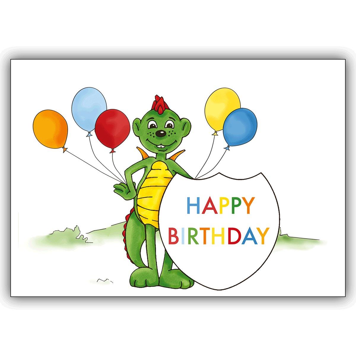 Coole Kinder Geburtstagskarte, Happy Birthday, Mit Drachen Dinolino Und  Luftballons für Geburtstagskarten Kinder