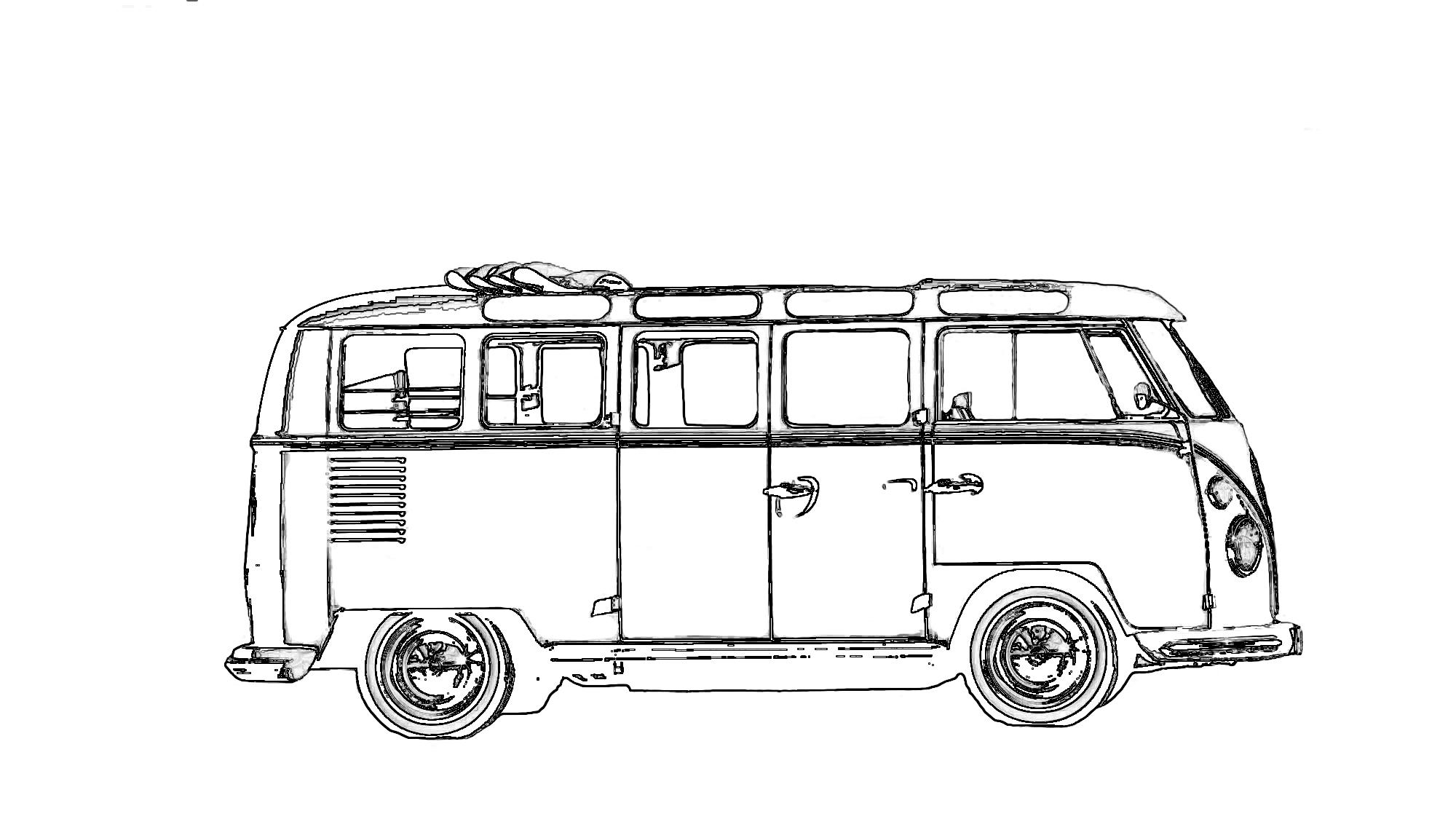Corona-Zeitvertreib: Coole Ausmalbilder Von Heißen Autos mit Vw Bus Ausmalbild