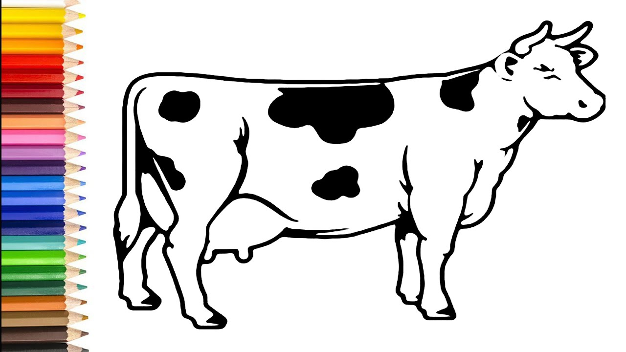 Cow Coloring Pages   How To Draw Cow Tutorial For Kids   Learn Colors With  Cute Cow bei Kuh Malvorlage