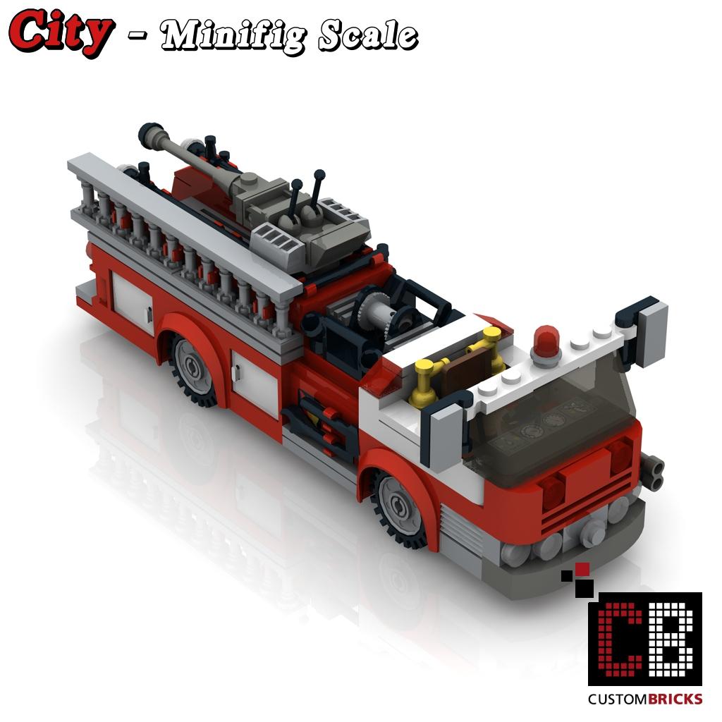 Custombricks.de - Lego Custom Moc City Modell Us Feuerwehr Truck bei Lego Flughafenfeuerwehr