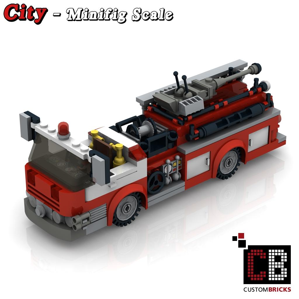 Custombricks.de - Lego Custom Moc City Modell Us Feuerwehr Truck für Lego Flughafenfeuerwehr
