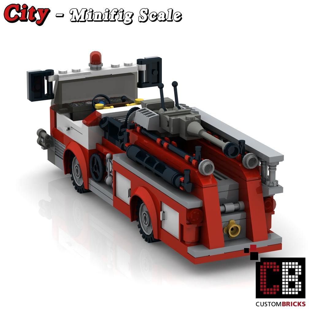 Custombricks.de - Lego Custom Moc City Modell Us Feuerwehr Truck über Lego Flughafenfeuerwehr