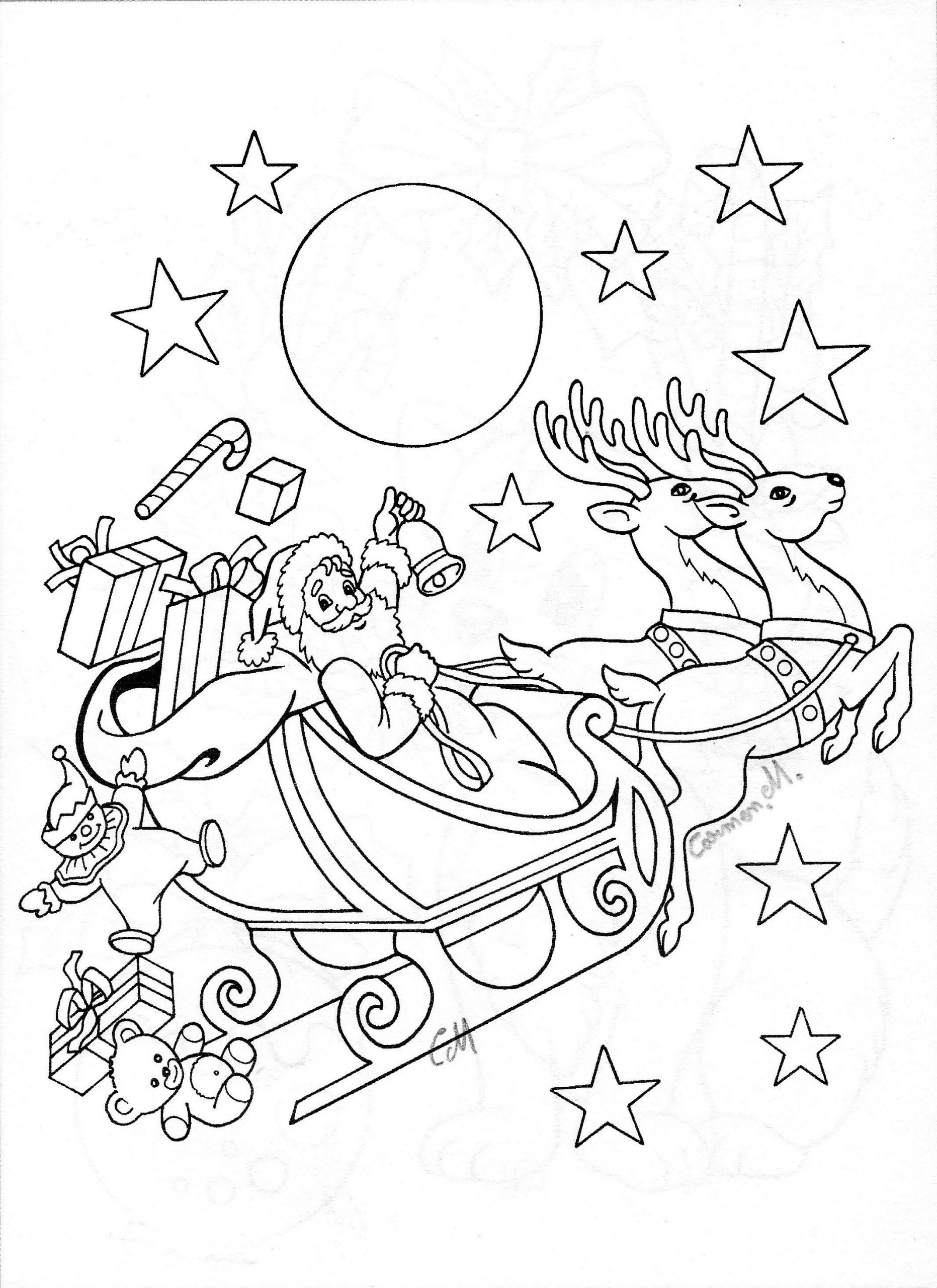 Daeils | Weihnachten Zeichnung, Ausmalbilder Weihnachten für Ausmalbilder Weihnachtsmann Mit Schlitten