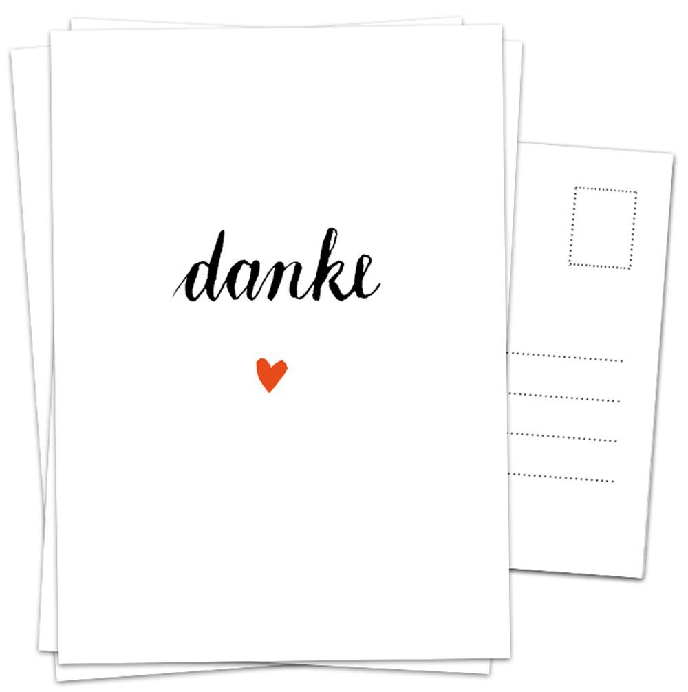 Dankeskarten - Danke Mit Herz, Weiß Schwarz Kalligrafie in Dankes Karten