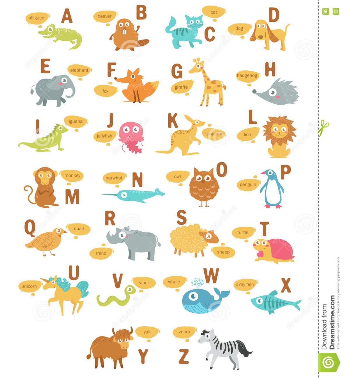 Das Alphabet Der Kinder Mit Tieren Vektor Abbildung innen Tiere Mit Anfangsbuchstaben A