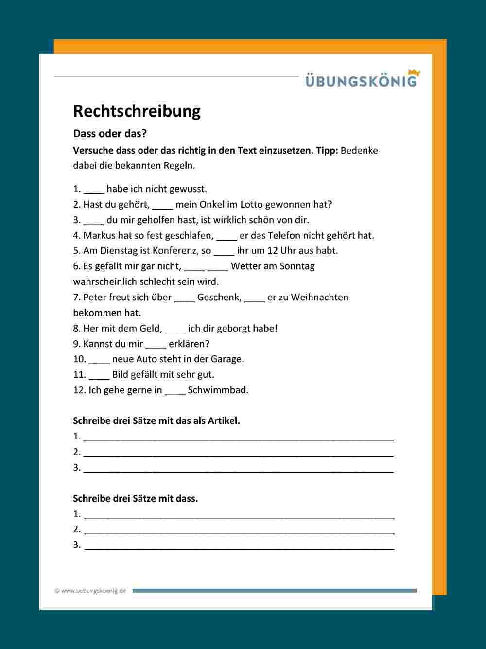 Das / Dass bei Deutsch Übungsblätter Klasse 4 Zum Ausdrucken