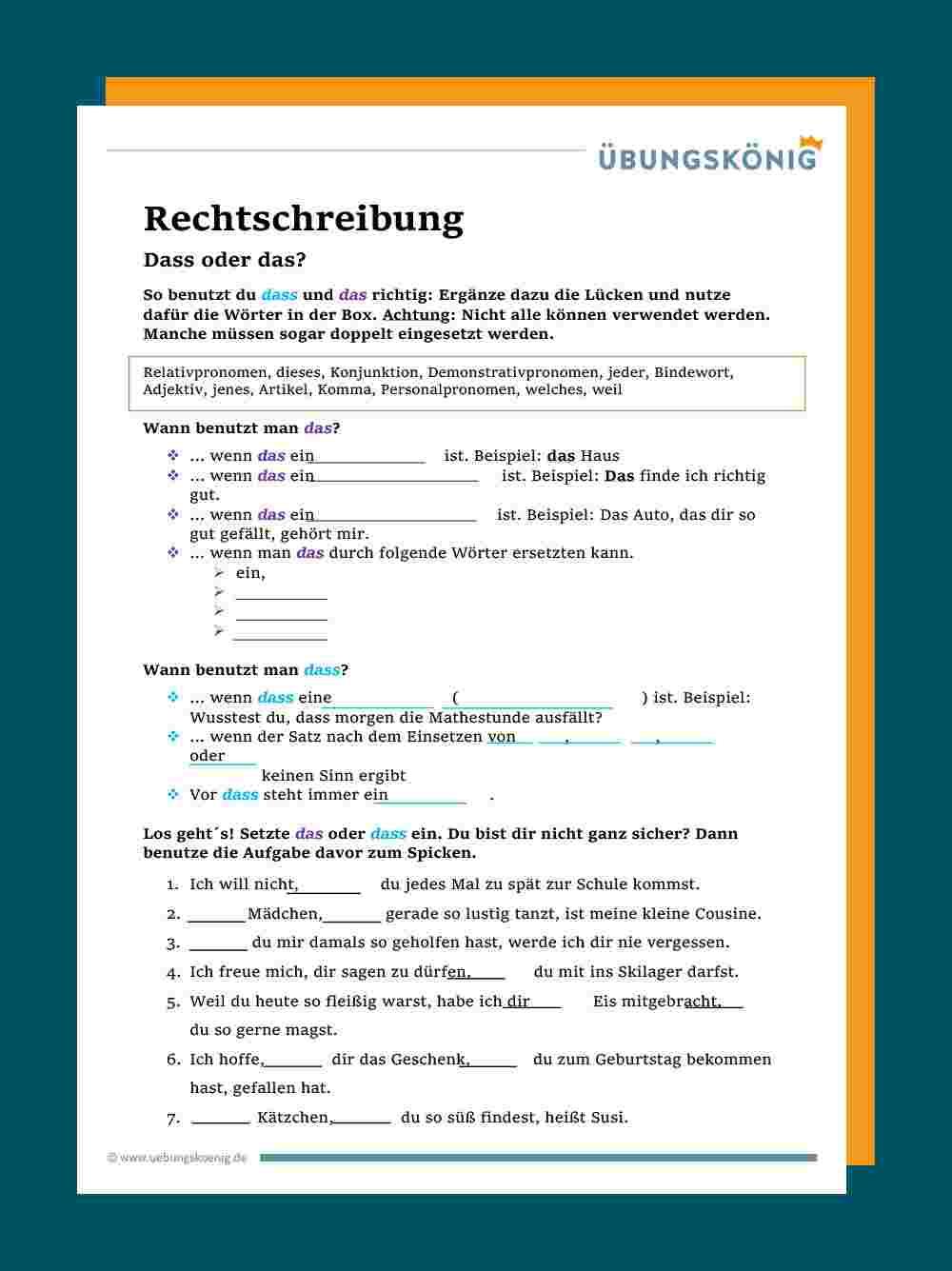 Das / Dass innen Deutsch 5 Klasse Realschule Übungen