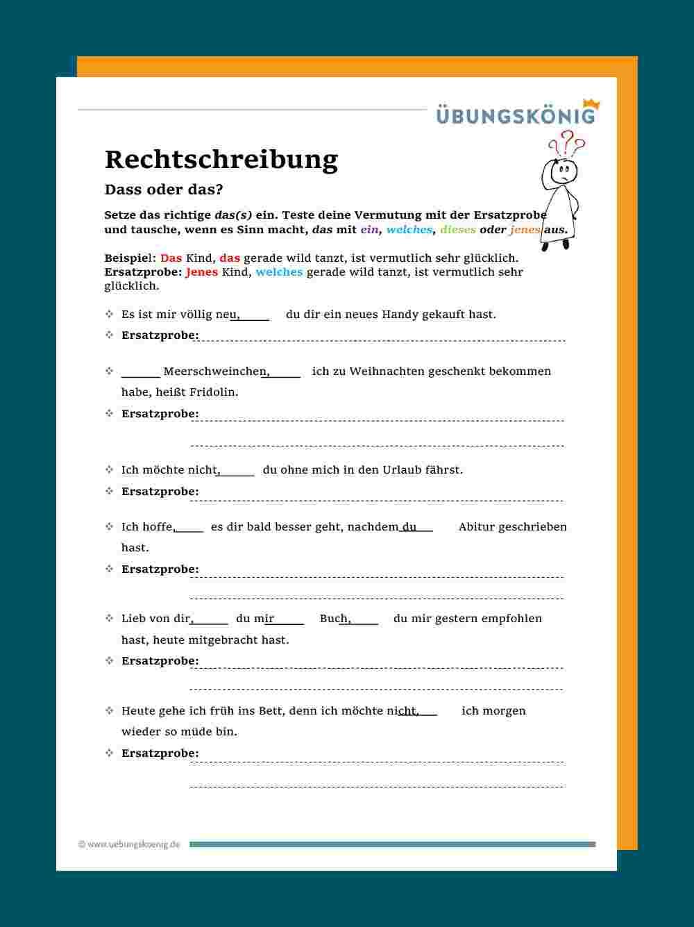 Das / Dass innen Übungsaufgaben Deutsch Klasse 4 Kostenlos