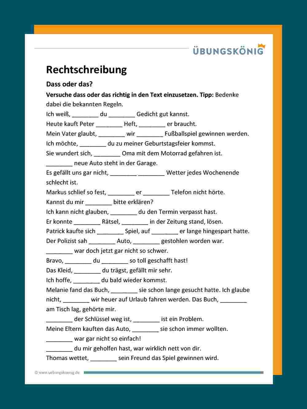 Das / Dass mit Deutsch Übungen Klasse 2 Zum Ausdrucken