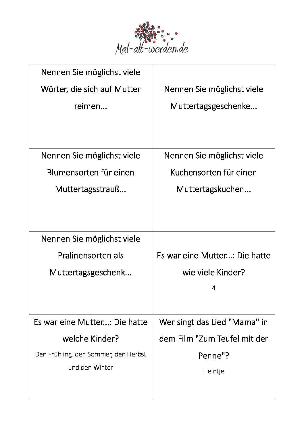 Das Große Muttertags-Quiz. 50 Kostenlose Rätselkarten Zum innen Rätsel Für Senioren Zum Ausdrucken