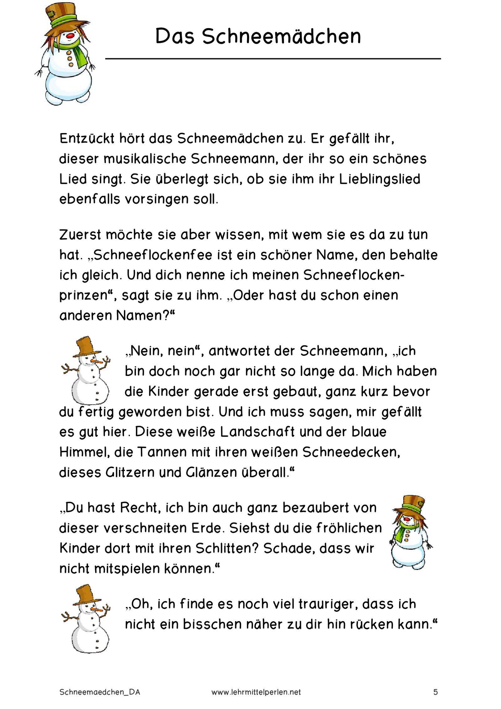 Das Schneemädchen   Pdf To Flipbook (Mit Bildern)   Gedicht verwandt mit Kurze Weihnachtsgedichte Für Kindergartenkinder Lustig