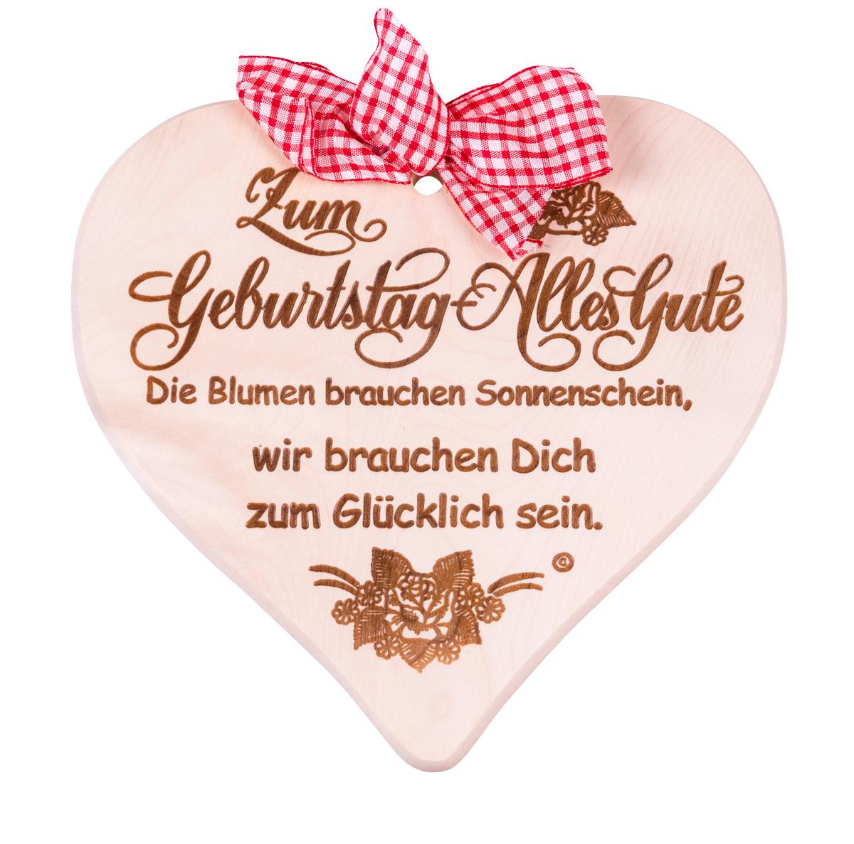 Das Schöne Holzherz - Zum Geburtstag - Herzschild Mit Glückwunschspruch in Schöne Bilder Zum Geburtstag