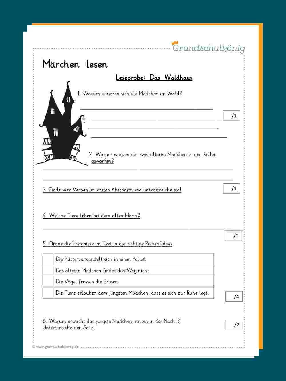 Das Waldhaus verwandt mit Lesekompetenz 4 Klasse Arbeitsblätter Kostenlos