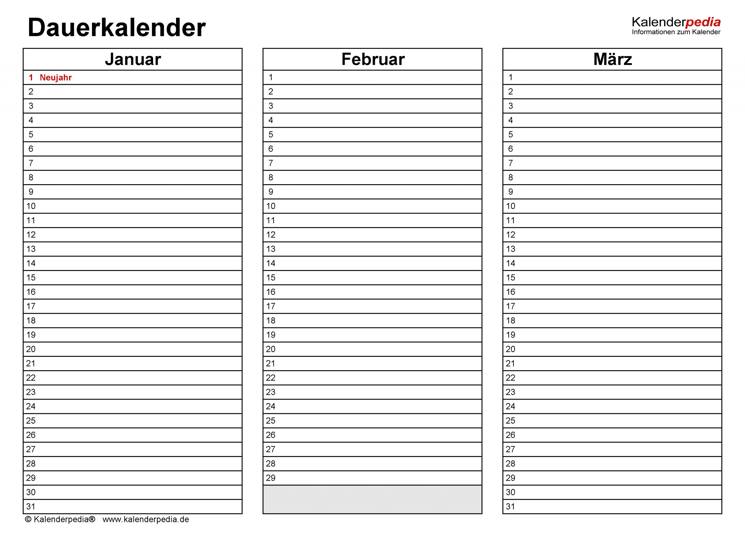 Dauerkalender / Immerwährender Kalender Für Excel Zum Ausdrucken ganzes Fotokalender Ohne Jahr