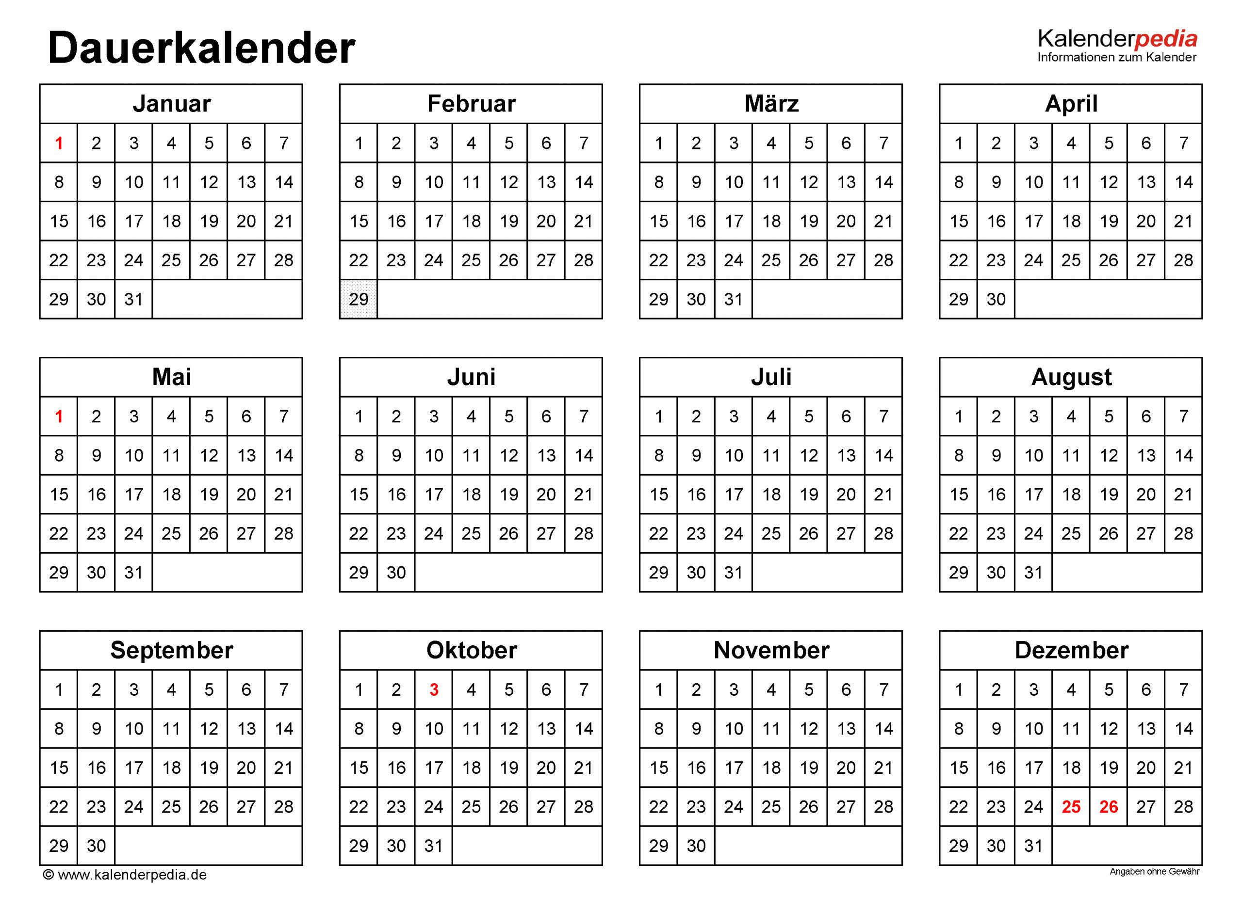 Dauerkalender / Immerwährender Kalender Für Pdf Zum Ausdrucken für Ewiger Kalender Kostenlos