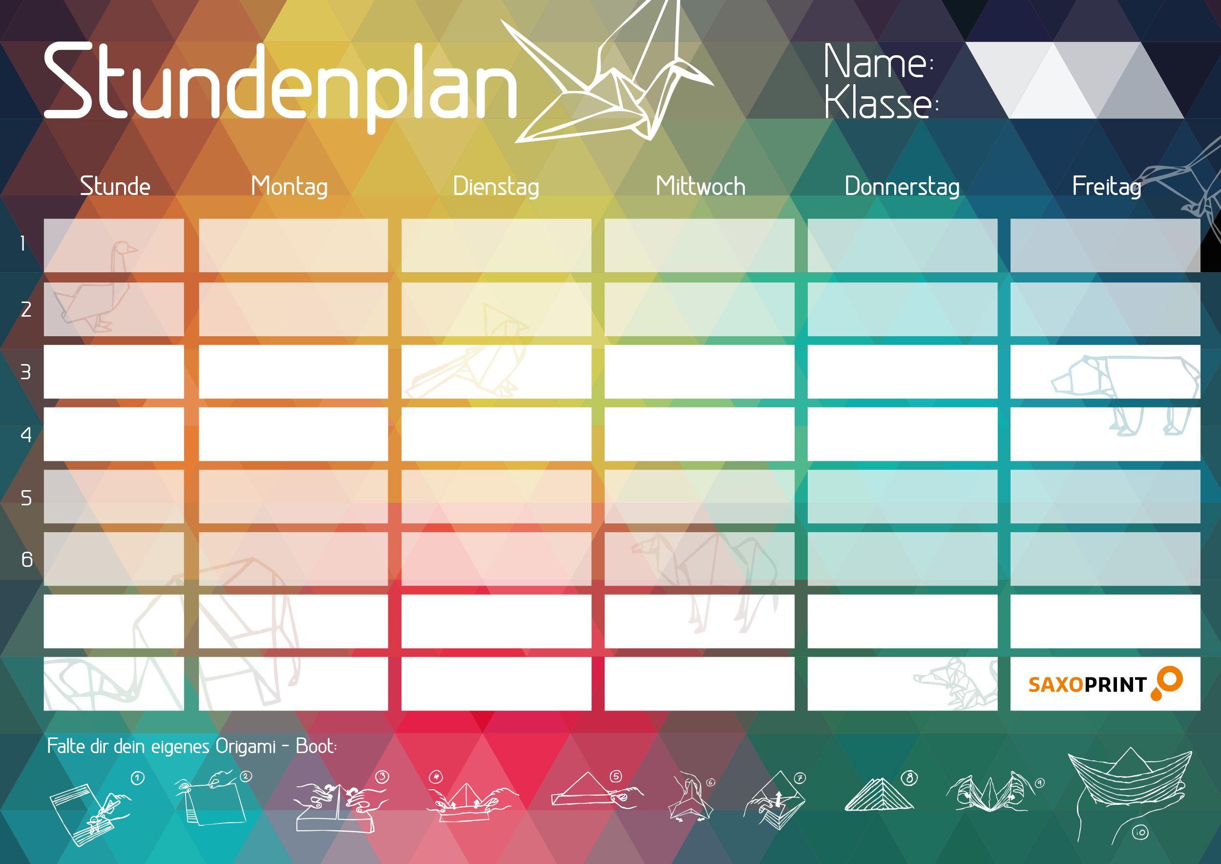 Dein Trendiger Stundenplan Zum Ausdrucken » Saxoprint (Mit in Stundenplan Zum Ausfüllen Und Ausdrucken Kostenlos
