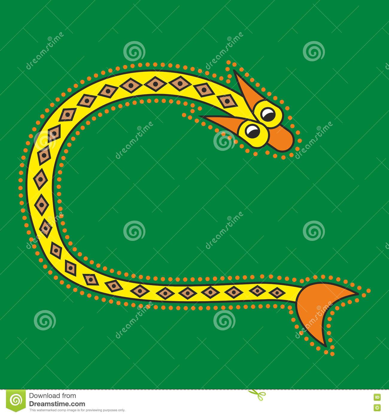 Dekorativer Anfangsbuchstabe C Als Schlange Vektor Abbildung über Tier Mit C Als Anfangsbuchstabe