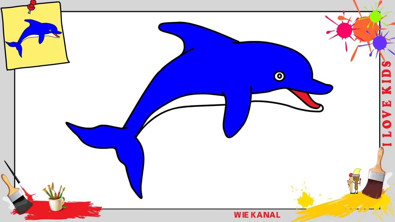 Delfin Zeichnen 3 Schritt Für Schritt Für Anfänger & Kinder - Zeichnen  Lernen in Delfine Zeichnen