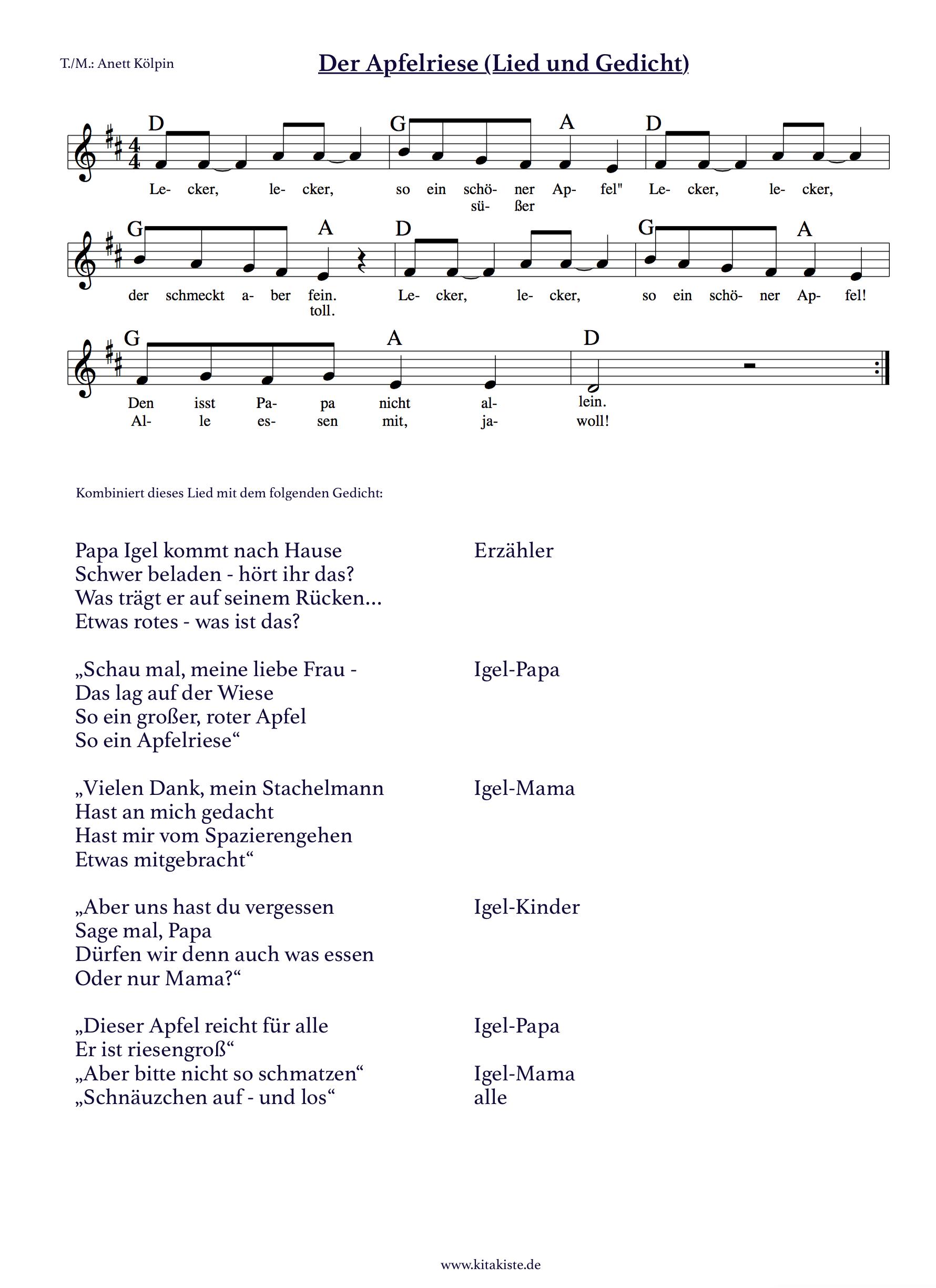 """Der Apfelriese"""" - Gedicht Und Lied Sind Super Geeignet Für für Herbstlieder Für Krippenkinder"""