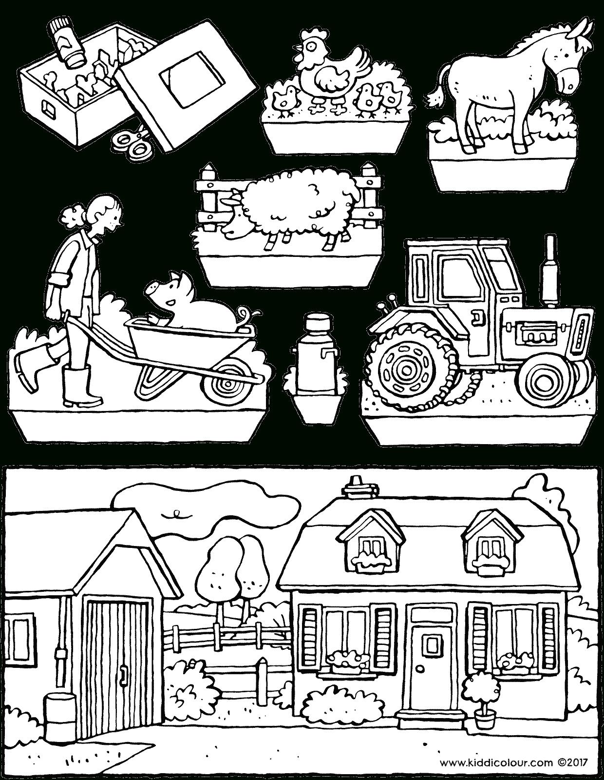 Der Bauernhof-Guckkasten - Kiddimalseite über Bauernhof Ausmalbilder