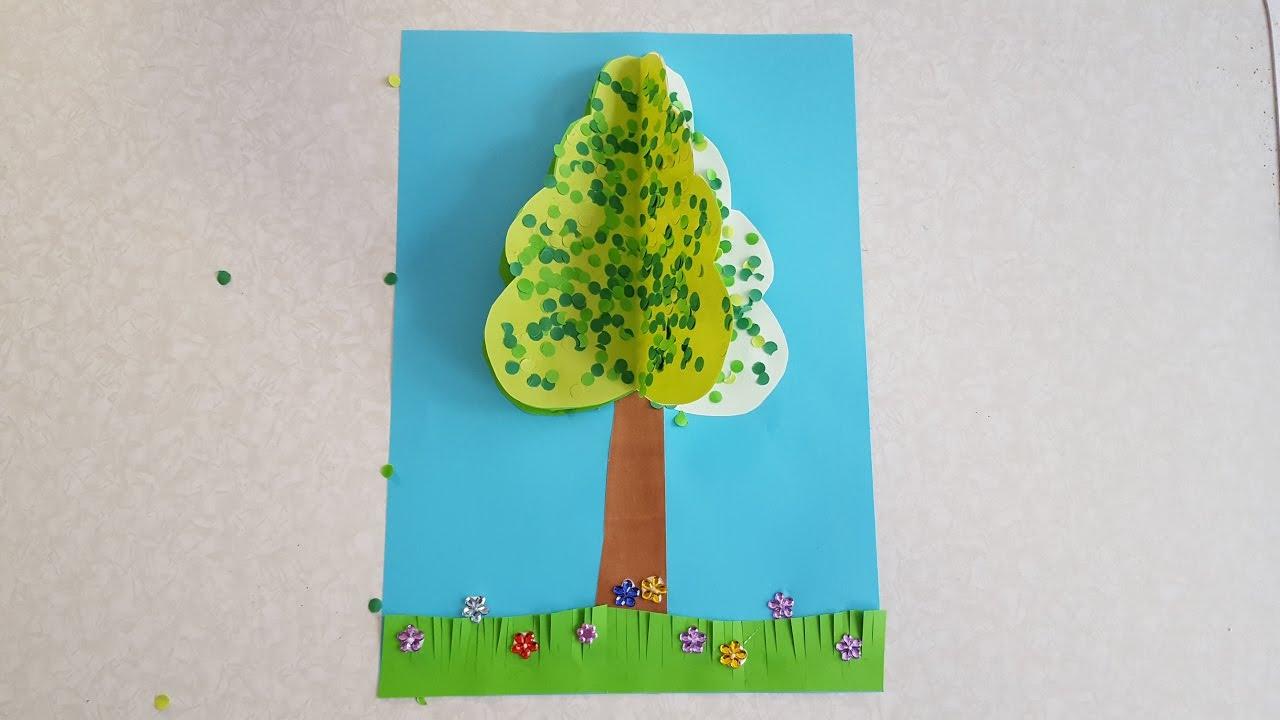 Der Baum Sommer Basteln Mit Buntpapier innen Bastelvorlage Baum