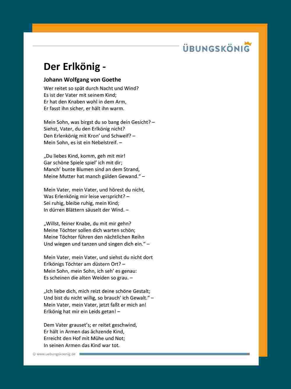 Der Erlkönig - Johann Wolfgang Von Goethe mit Gedichte Zum Auswendig Lernen 5 Klasse