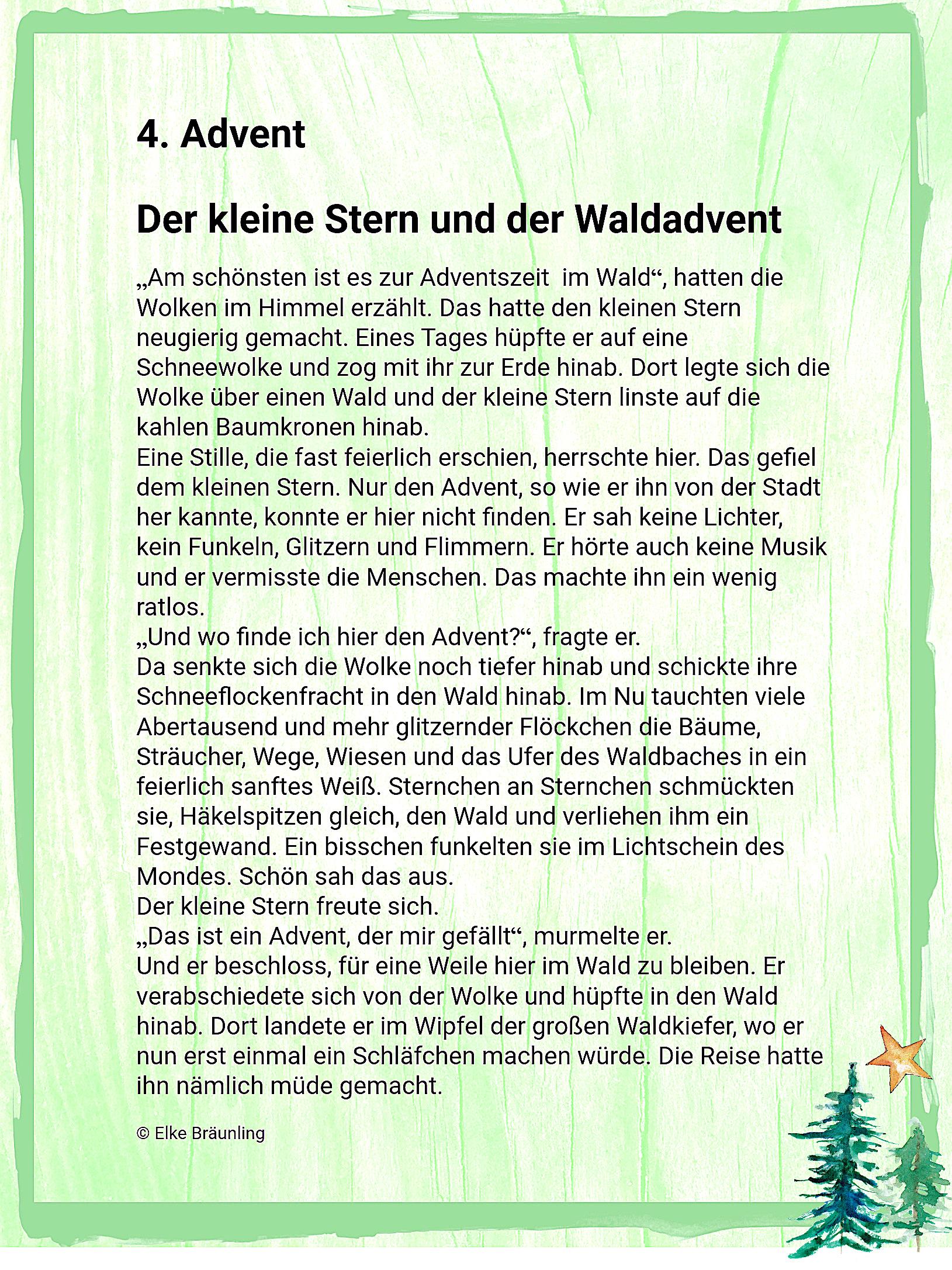 Der Kleine Stern Und Der Waldadvent – 4. Advent | Winterzeit ganzes Gedichte Zum Advent Für Kindergartenkinder