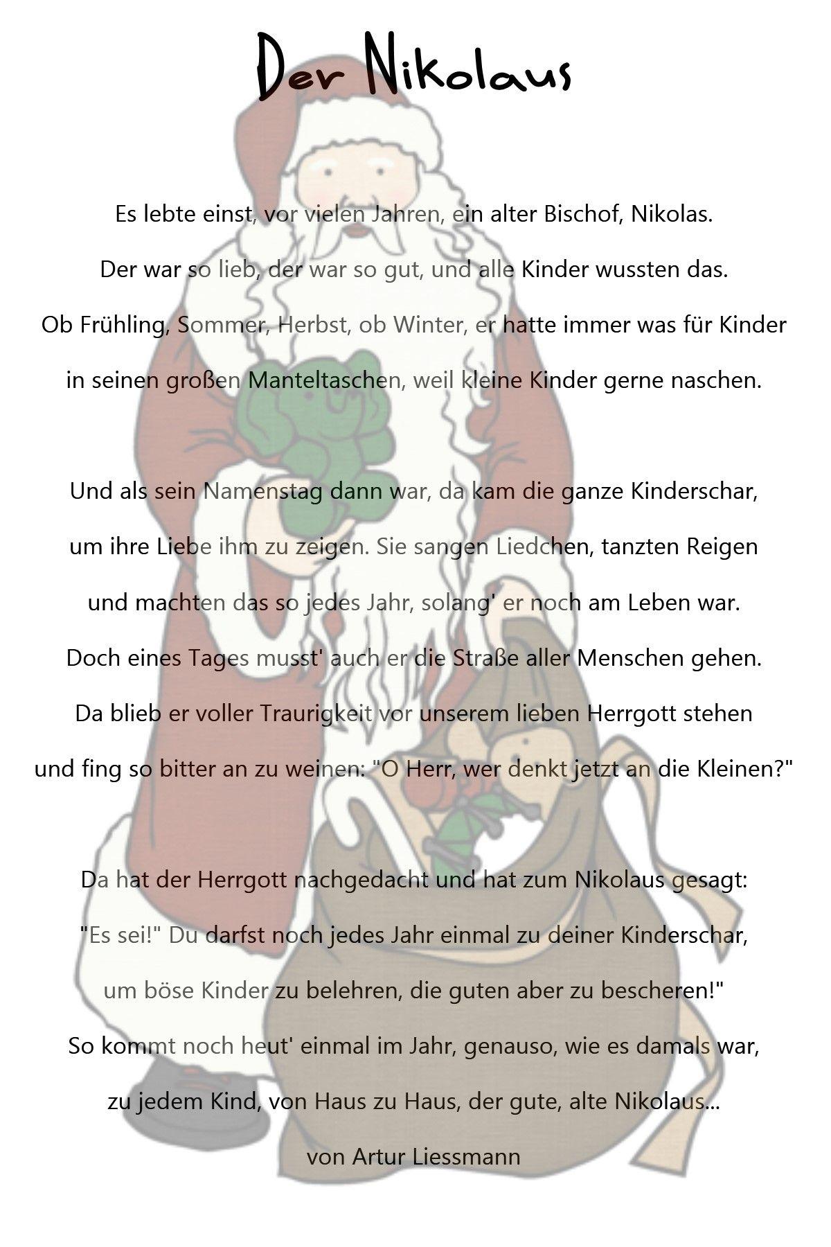 Der Nikolaus … | Kindergedichte, Nikolaus Geschichte in Weihnachtsgeschichten Für Kindergartenkinder Zum Ausdrucken