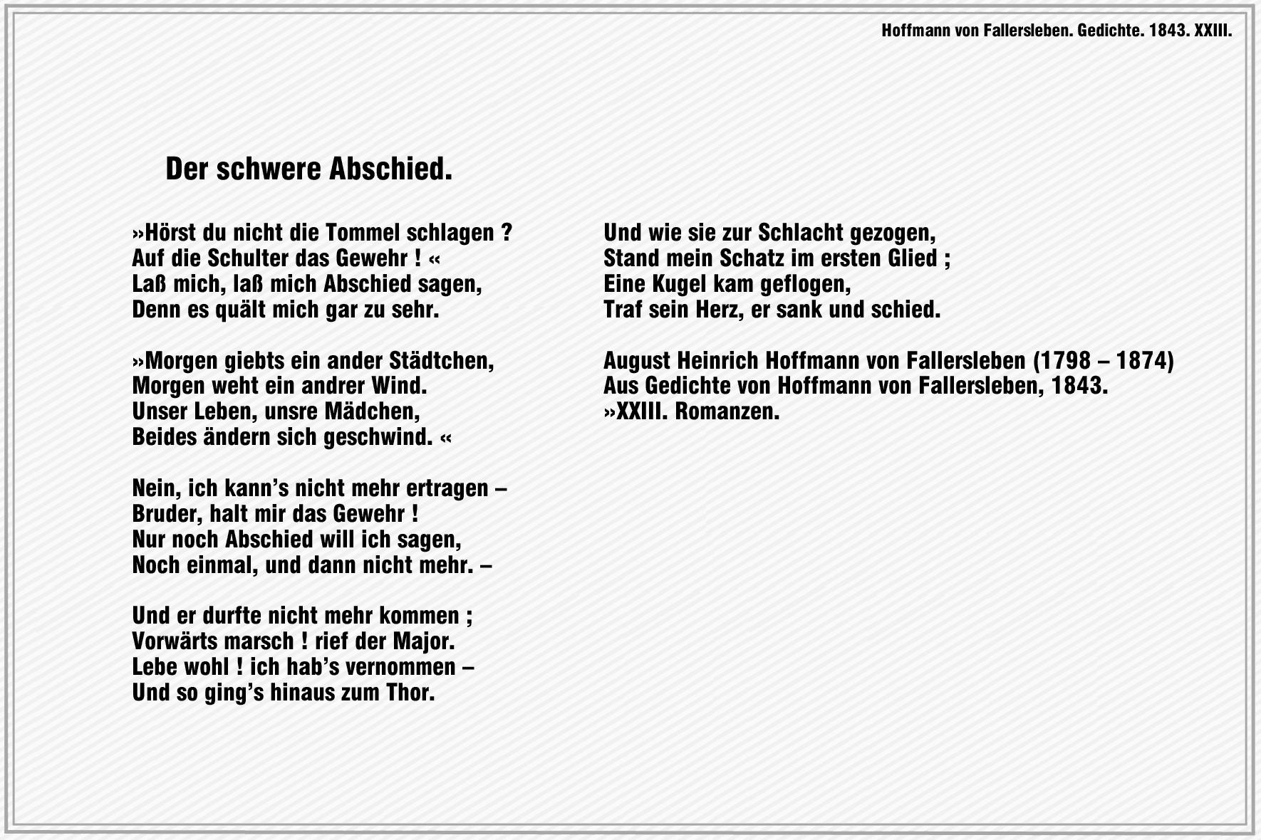Der Schwere Abschied – Hoffmann Von Fallersleben | Gedichte innen Abschied Gedicht