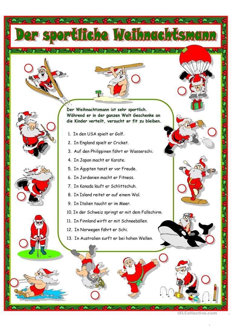 Der Sportliche Weihnachtsmann (Mit Bildern)   Deutsch Lernen verwandt mit Weihnachtsmann Spielen Sprüche
