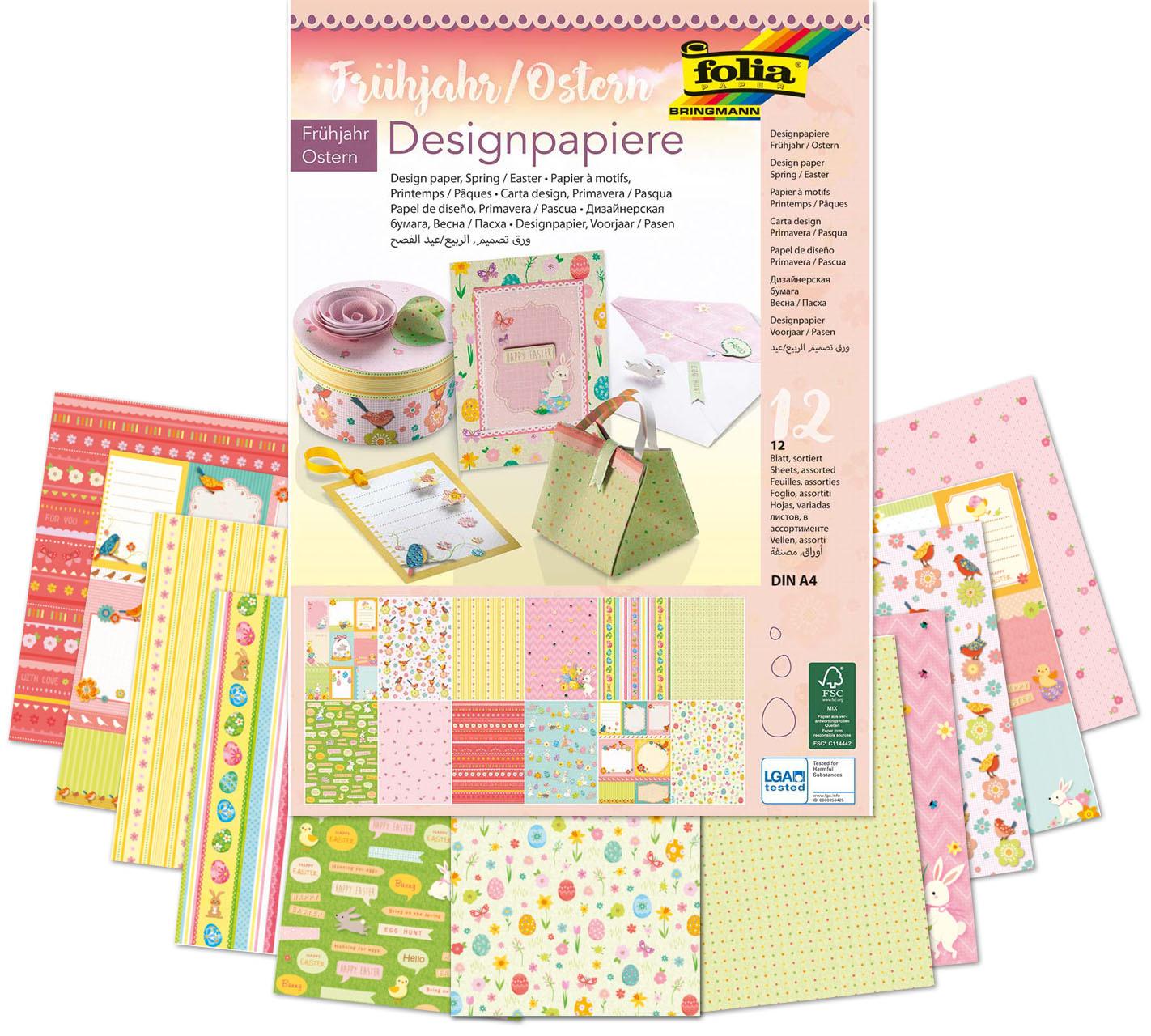 Design-Tonpapier A4, 12 Blatt - Frühjahr/ostern in Gemustertes Tonpapier