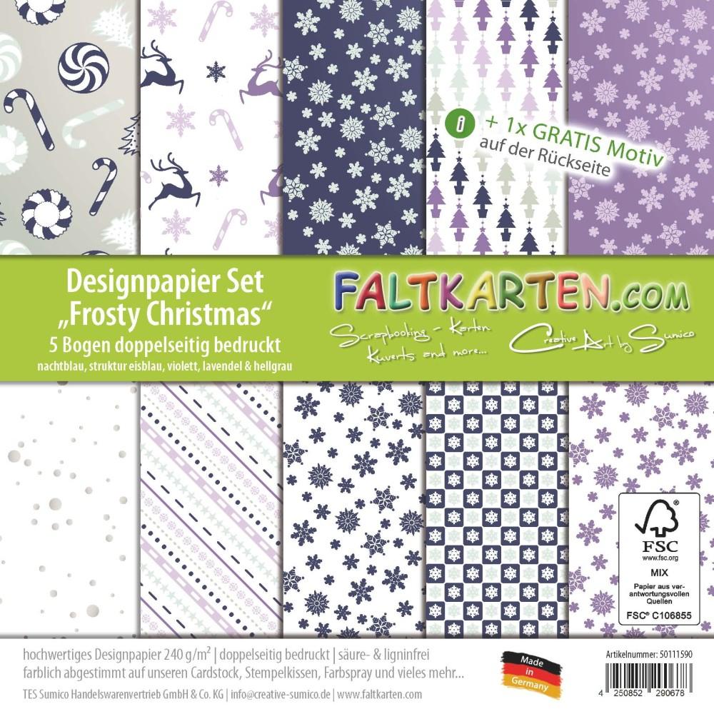 "Designpapier 12""x12"" 170G/m² ""frosty Christmas"" Doppelseitig bei Bastelpapier Weihnachten"