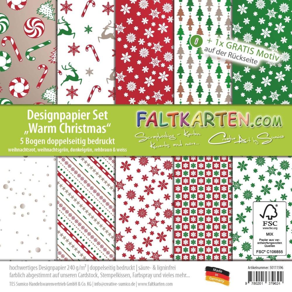 """Designpapier Set 12""""x12"""" """"warm Christmas"""" Doppelseitig ganzes Bastelpapier Weihnachten"""