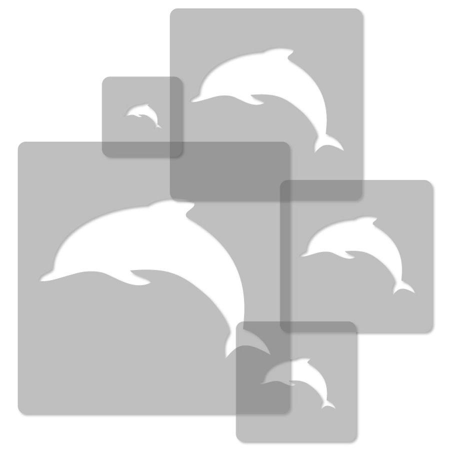 Details Zu 5X Wiederverwendbare Kunststoff-Schablonen 34X34Cm B. 9X9Cm  Kinderzimmer Delphin bestimmt für Delfin Schablone