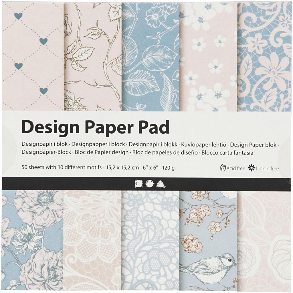 Details Zu Design-Papier Im Block, Blatt 15,2X15,2 Cm, 120 G, Rosa, 50 Blatt mit Gemustertes Tonpapier