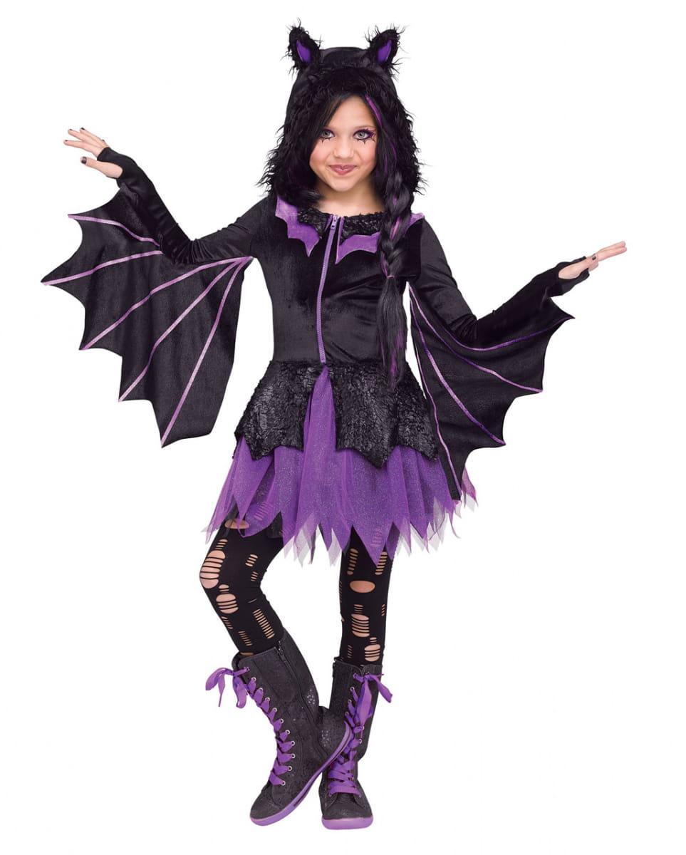 Details Zu Fledermaus Kostüm Kapuzenkleid Für Mädchen An Halloween verwandt mit Fledermaus Kostüm Kind Selber Machen