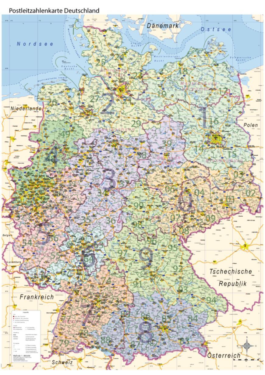 Details Zu Postleitzahlenkarte Plz Deutschland Mit Bundesländern Wand Karte  Poster A0, 2018 verwandt mit Deutschlandkarte Mit Bundesländern Und Städten