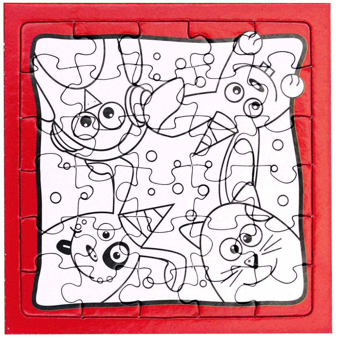 Details Zu Puzzle Zum Ausmalen Kinder Tier Motive Kindergeburtstag Basteln  Malen Mitgebsel innen Puzzle Zum Ausmalen
