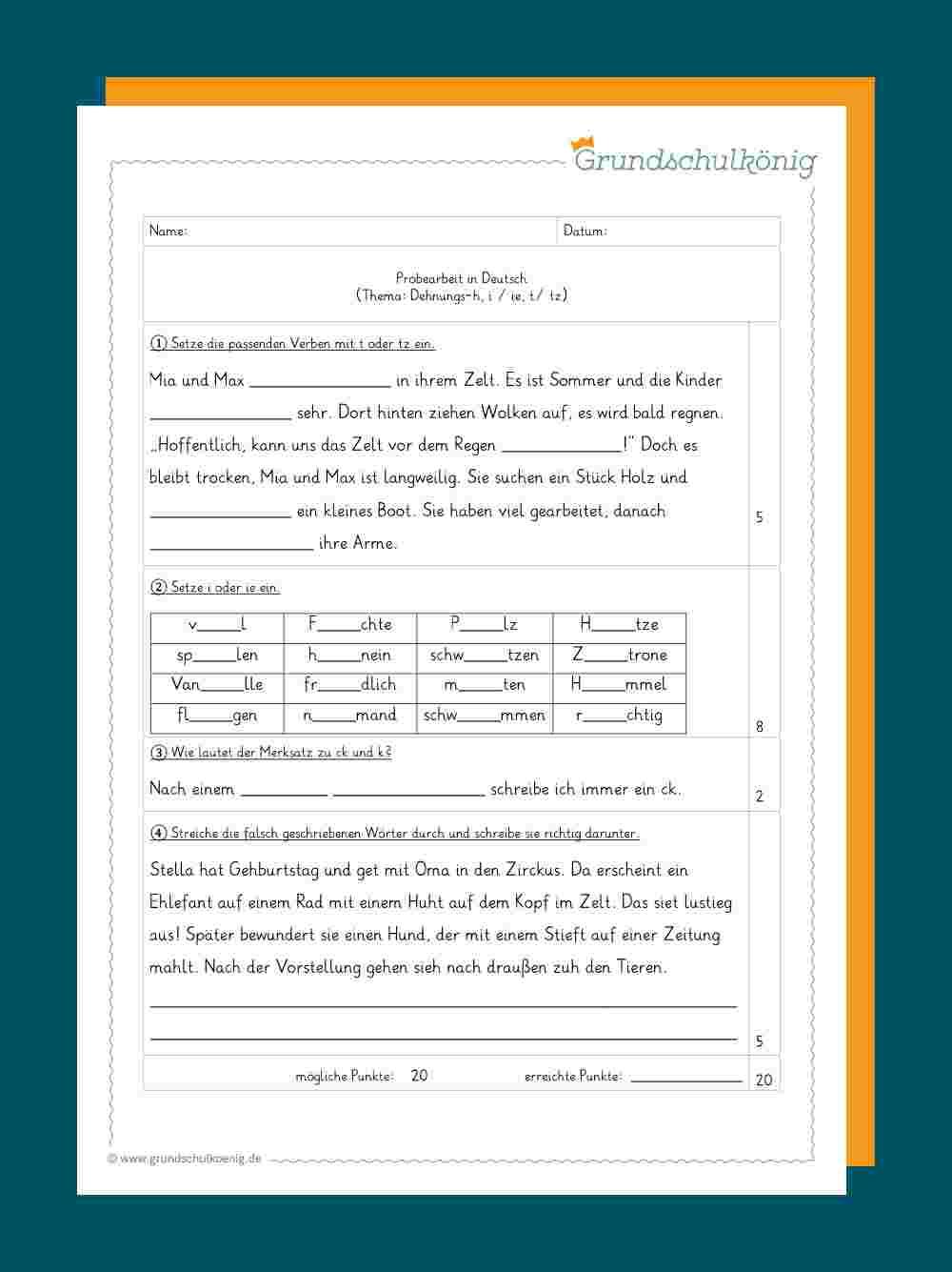 Deutsch - 4. Klasse bestimmt für Deutsch Übungsblätter Klasse 4 Zum Ausdrucken