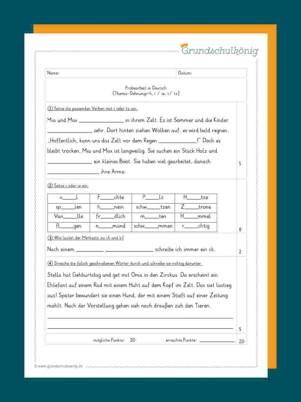 Deutsch - 4. Klasse in Deutsch 4 Klasse Zeitformen Übungen