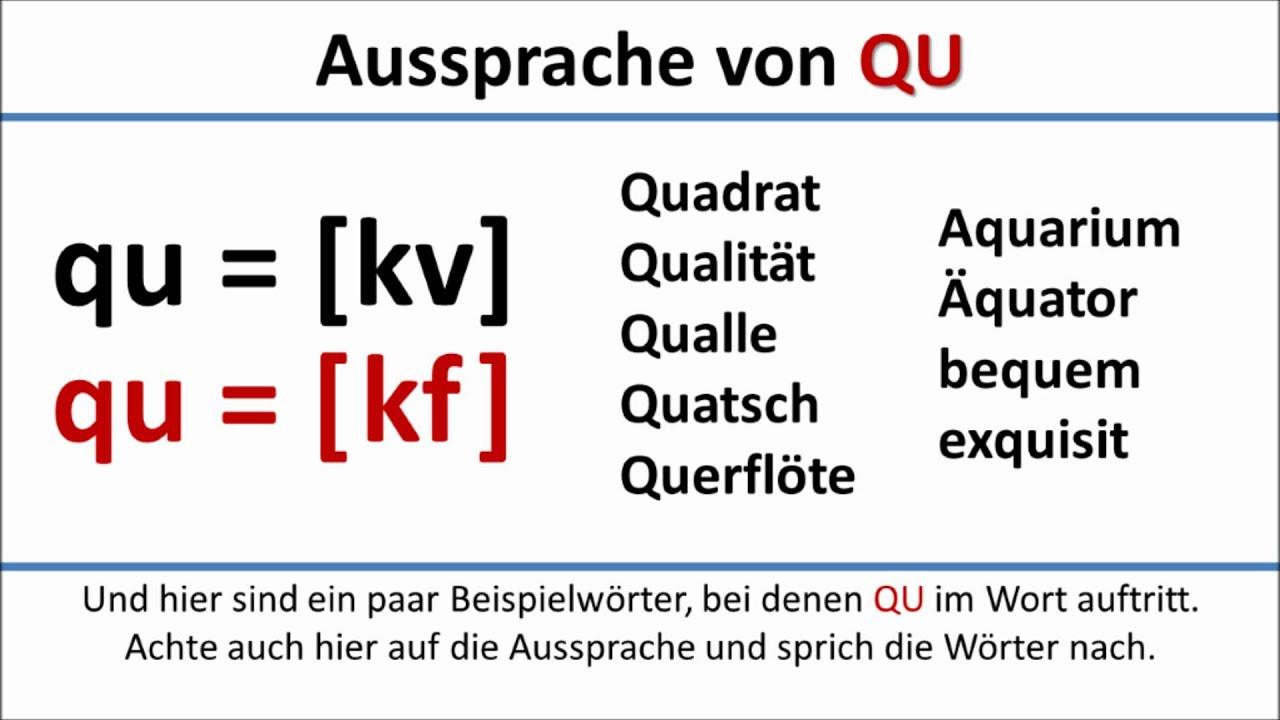 Deutsch: Aussprache Von Qu (Deutsche Untertitel)/pronunciation Of Qu  (German Subtitles) mit Wörter Mit W Am Anfang