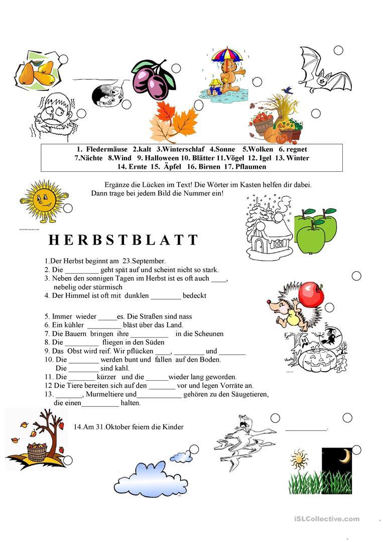 Deutsch Daf Herbst Arbeitsblätter - Beliebteste Ab (90 Results) für Arbeitsblätter Herbst Grundschule