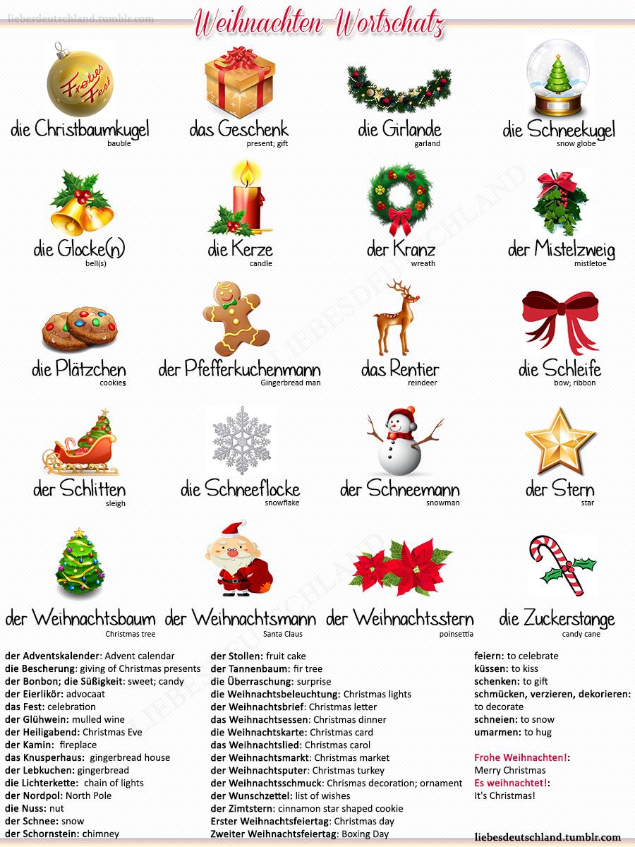 Deutsch-Englisch Christmas Vocabulary (Hq)   Aprender Alemán ganzes Weihnachtliche Wörter
