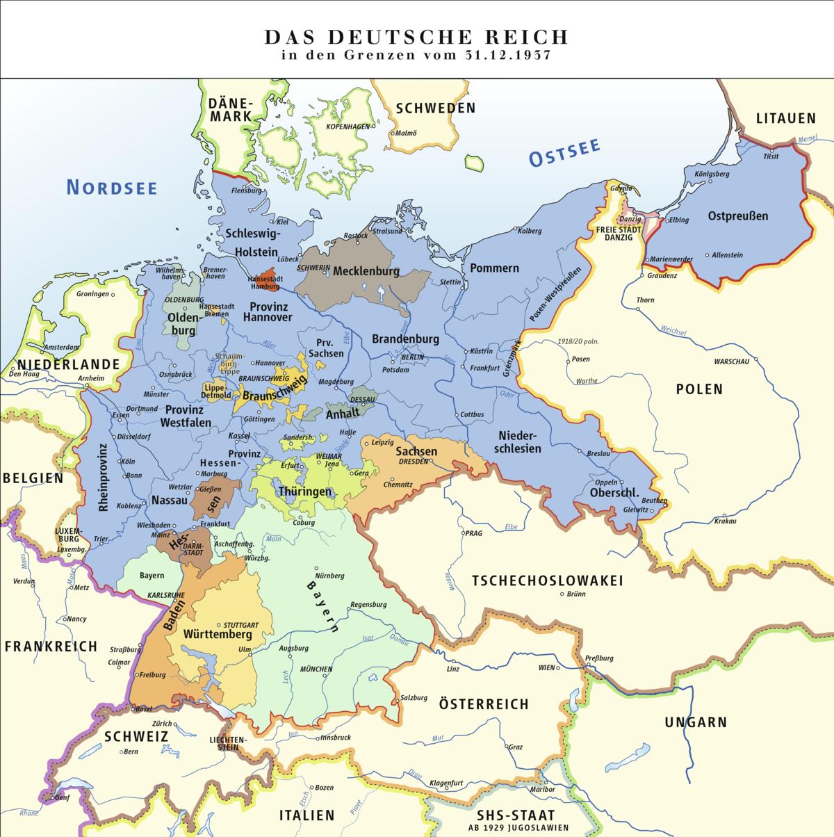 Deutsches Reich In Den Grenzen Vom 31. Dezember 1937 – Wikipedia verwandt mit Welche Länder Grenzen An Deutschland