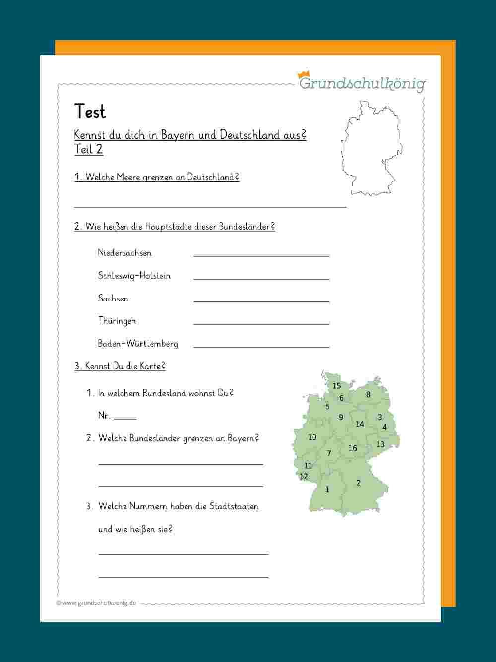 Deutschland für 16 Bundesländer Und Ihre Hauptstädte Test